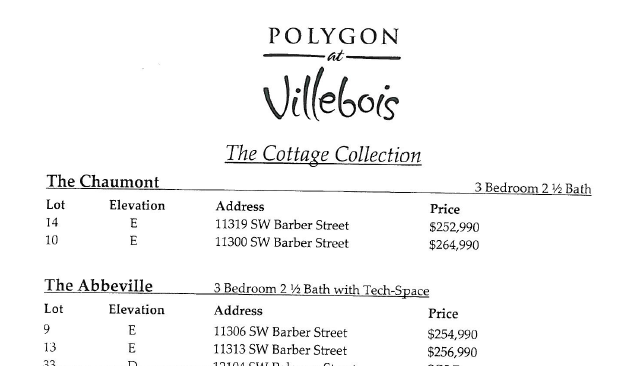Polygon at Villebois lot map of the Le Bois Detached Rowhomes