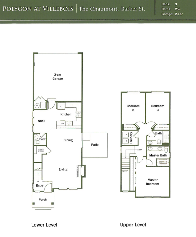 The Chaumont floor plan on Barber St. in Villebois